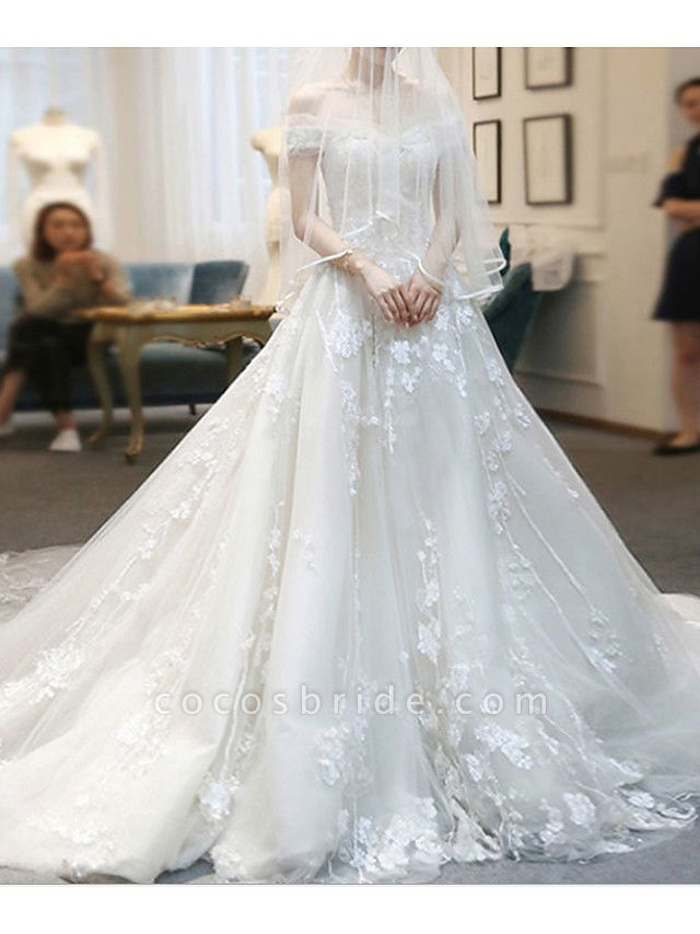 A-Line Wedding Dresses Off Shoulder Sweep \ Brush Train Lace Tulle Cap Sleeve Casual Plus Size