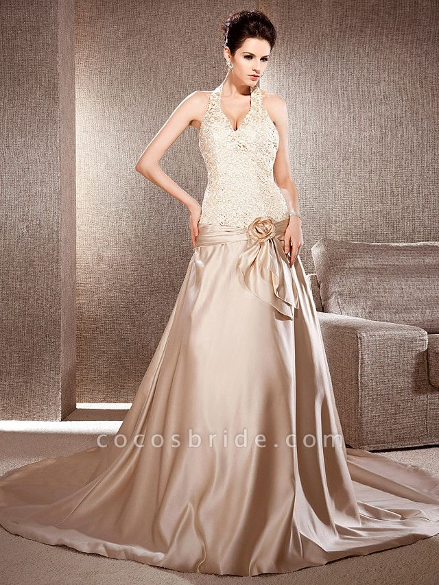 Princess A-Line Wedding Dresses V Neck Chapel Train Lace Satin Sleeveless Wedding Dress in Color