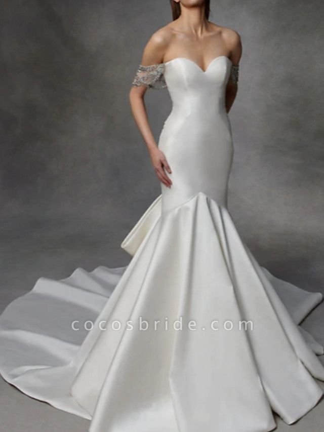 Mermaid \ Trumpet Wedding Dresses Strapless Court Train Tulle Stretch Satin Lace Over Satin Short Sleeve