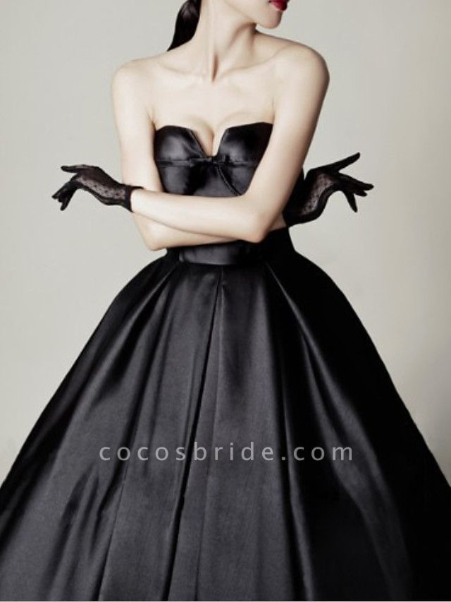 A-Line Wedding Dresses Sweetheart Neckline Sweep \ Brush Train Satin Strapless Formal Black