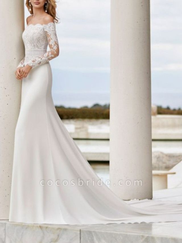 Mermaid \ Trumpet Wedding Dresses Off Shoulder Court Train Lace Satin Long Sleeve Country See-Through Illusion Sleeve