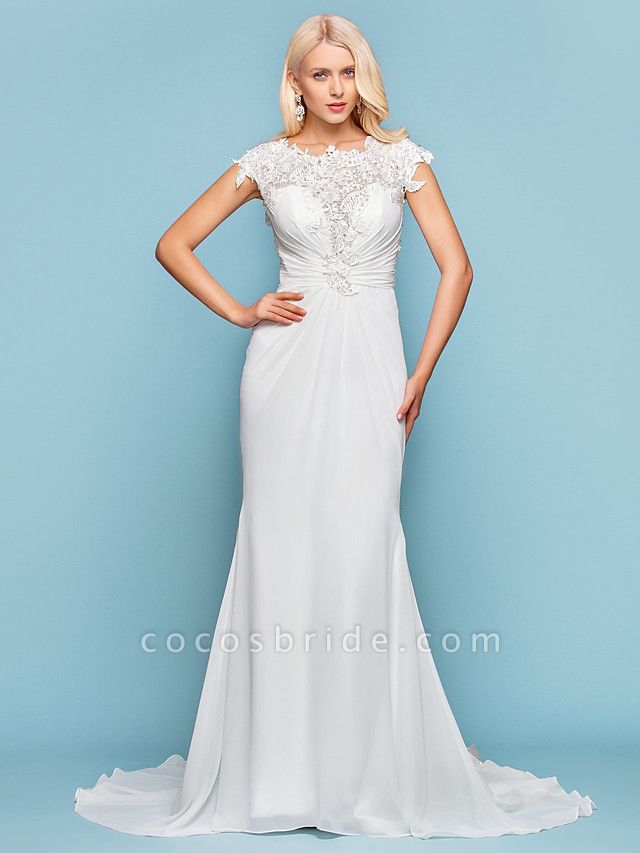 Mermaid \ Trumpet Wedding Dresses Jewel Neck Court Train Chiffon Short Sleeve Open Back