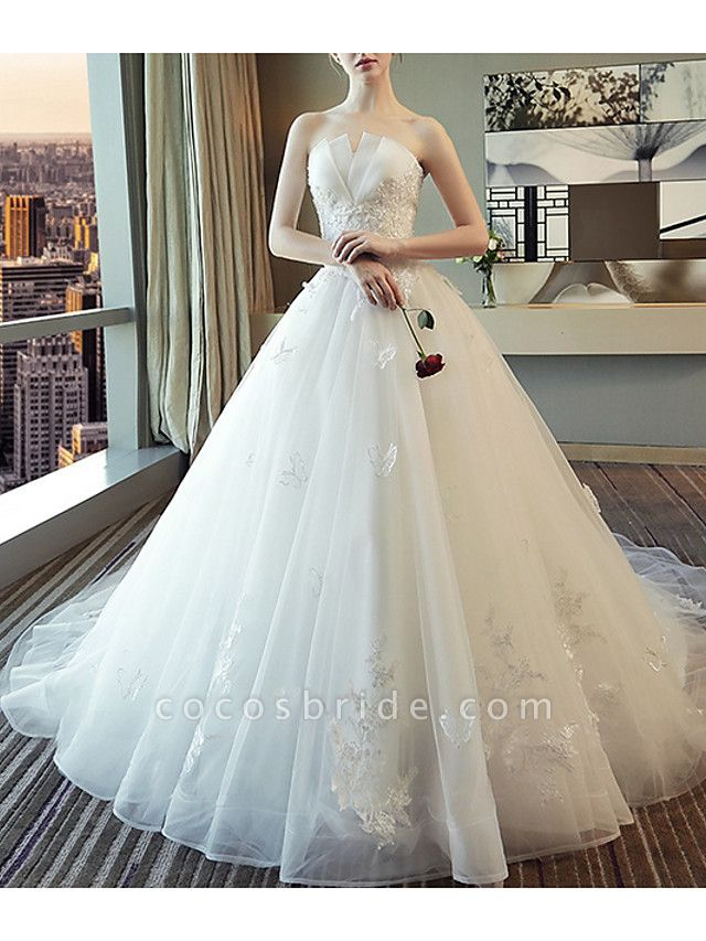 A-Line Wedding Dresses Strapless Court Train Polyester Strapless