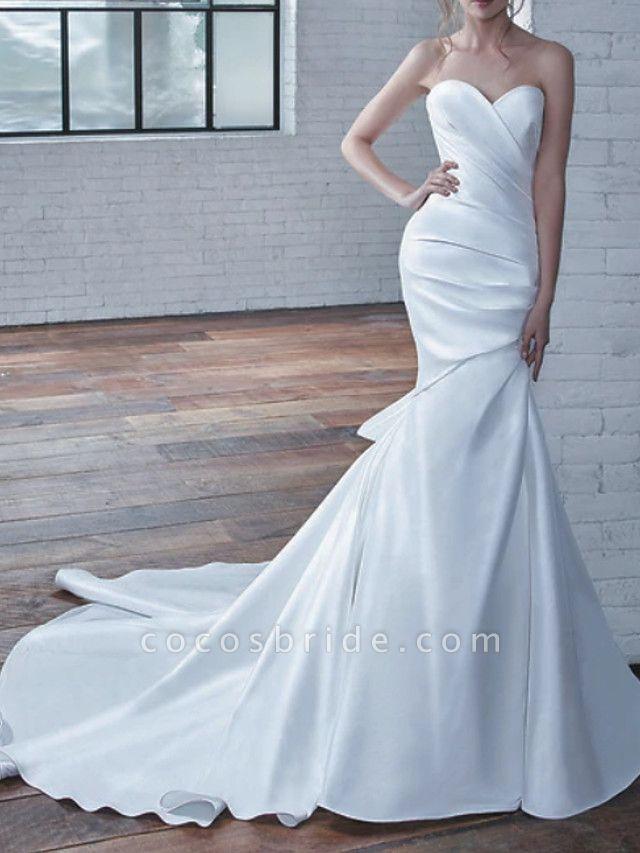 Mermaid \ Trumpet Wedding Dresses Strapless Court Train Stretch Satin Strapless