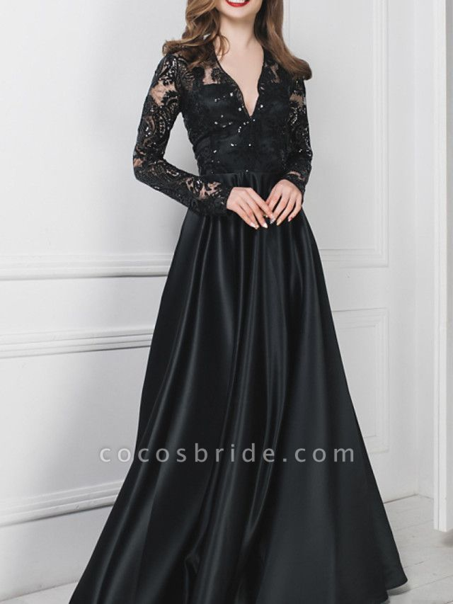A-Line Wedding Dresses V Neck Floor Length Polyester Long Sleeve Formal Plus Size Black Modern