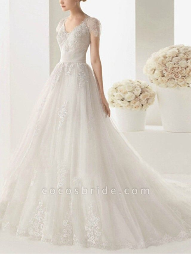 A-Line Wedding Dresses V Neck Sweep \ Brush Train Lace Cap Sleeve Beach