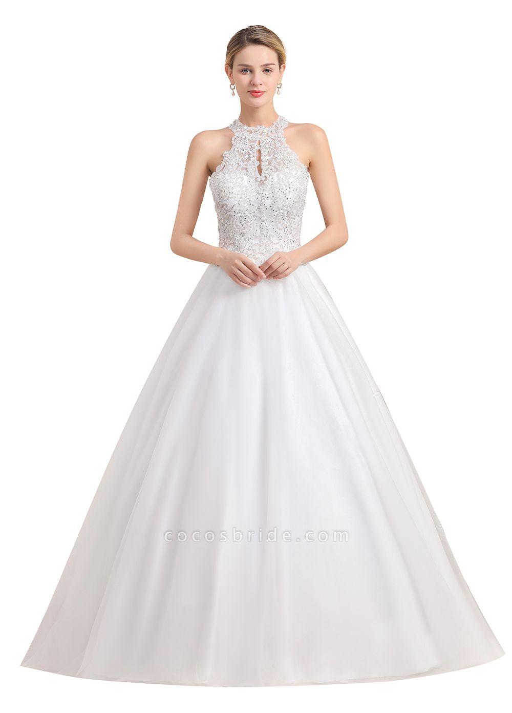 Halter Lace Appliques A-line Sleeveless Wedding Dress