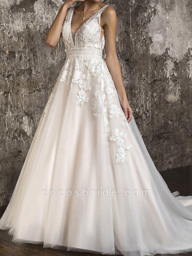 A-Line Wedding Dresses V Neck Sweep \ Brush Train Tulle Sleeveless Formal