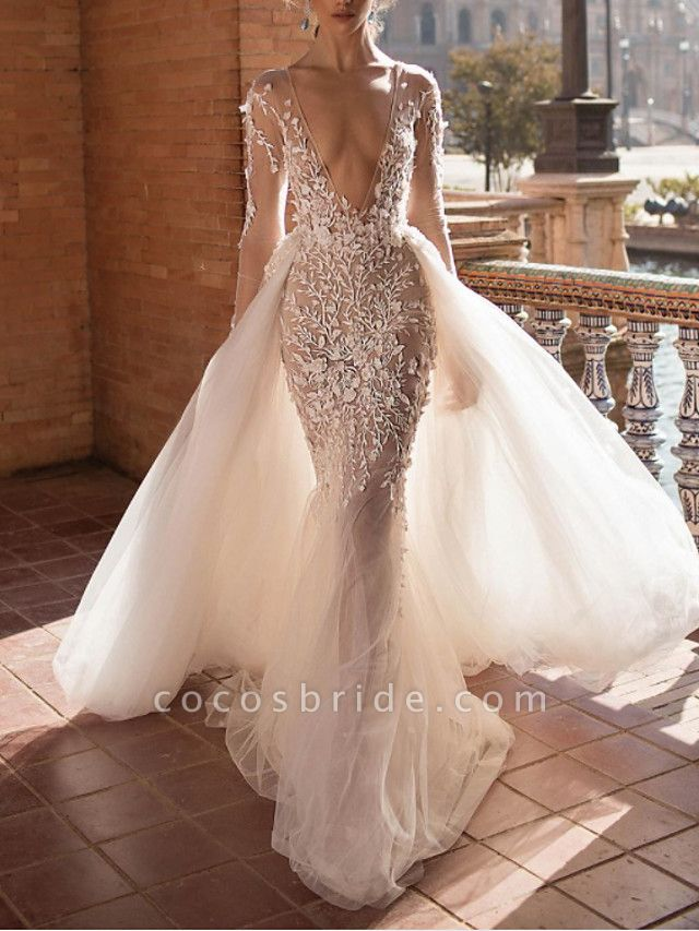 Two Piece A-Line Wedding Dresses Plunging Neck Sweep \ Brush Train Lace Tulle Sleeveless Beach Sexy See-Through Backless