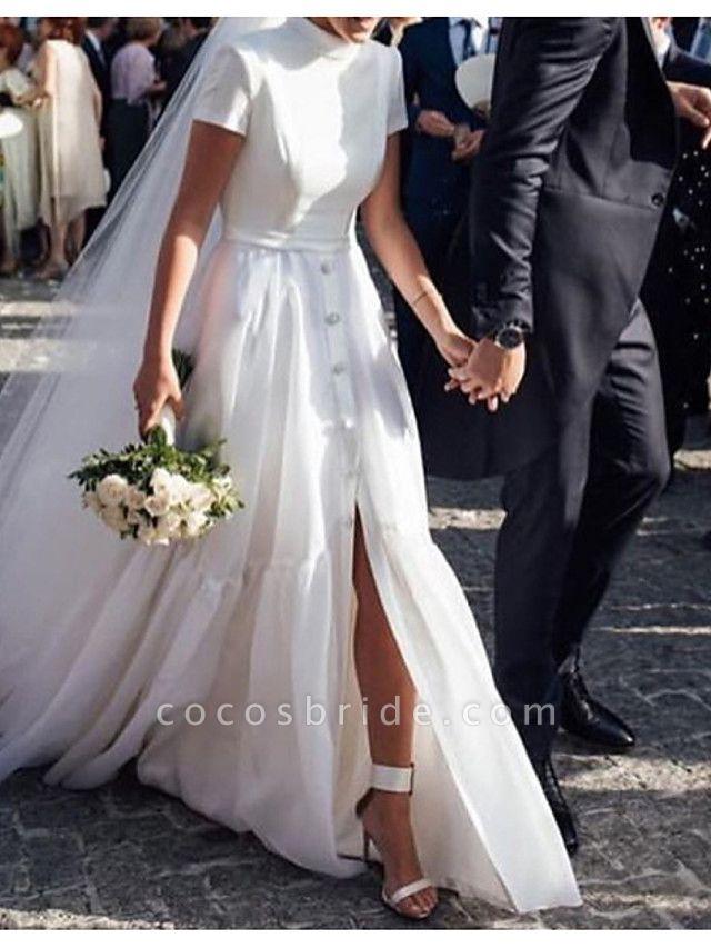 A-Line Wedding Dresses High Neck Sweep \ Brush Train Polyester Short Sleeve Formal Plus Size Modern