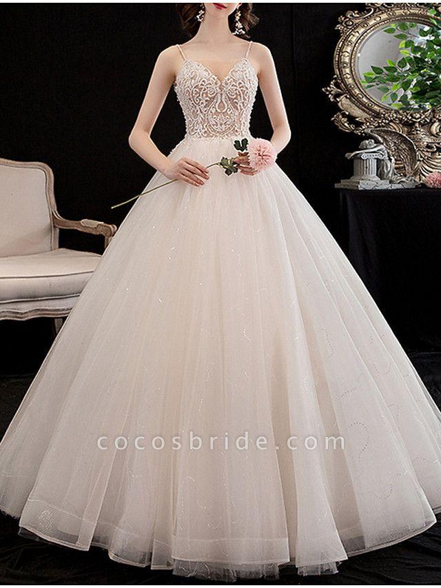 A-Line Wedding Dresses V Neck Floor Length Lace Spaghetti Strap