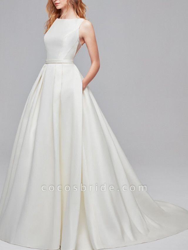 A-Line Wedding Dresses Jewel Neck Court Train Satin Regular Straps Simple Backless Elegant