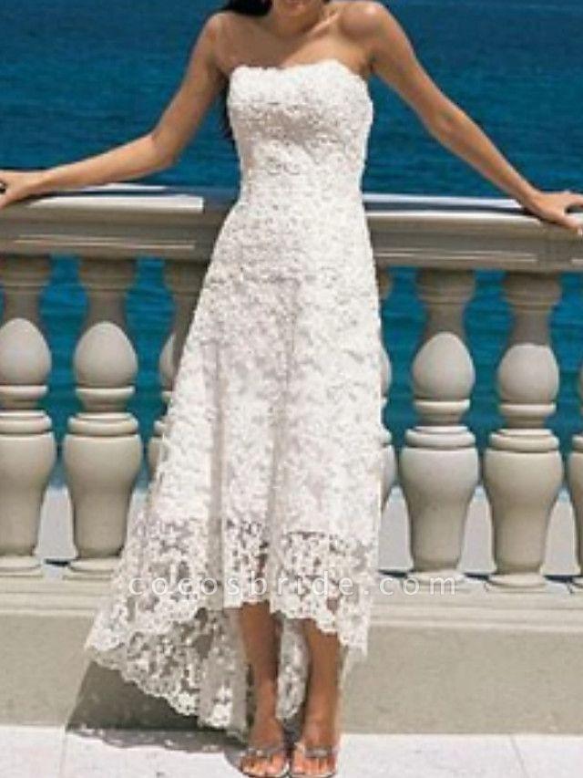 A-Line Wedding Dresses Strapless Asymmetrical Lace Strapless Beach Illusion Detail