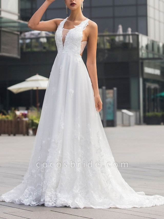 A-Line Wedding Dresses V Neck Sweep \ Brush Train Lace Tulle Sleeveless Beach Sexy Backless
