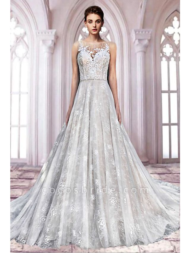 A-Line Jewel Neck Sweep \ Brush Train Lace Tulle Sleeveless Formal Sexy See-Through Wedding Dresses
