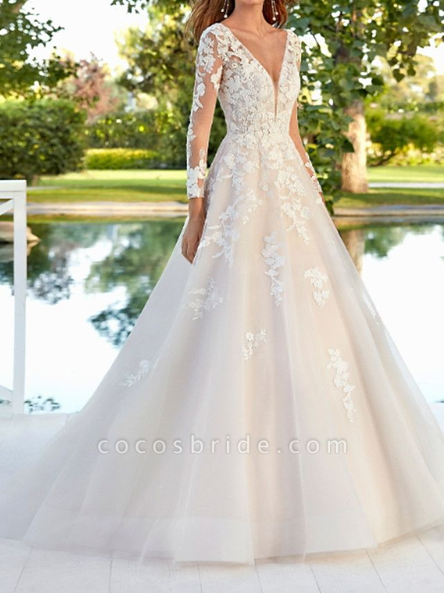 A-Line Wedding Dresses V Neck Sweep \ Brush Train Polyester Long Sleeve Country Plus Size