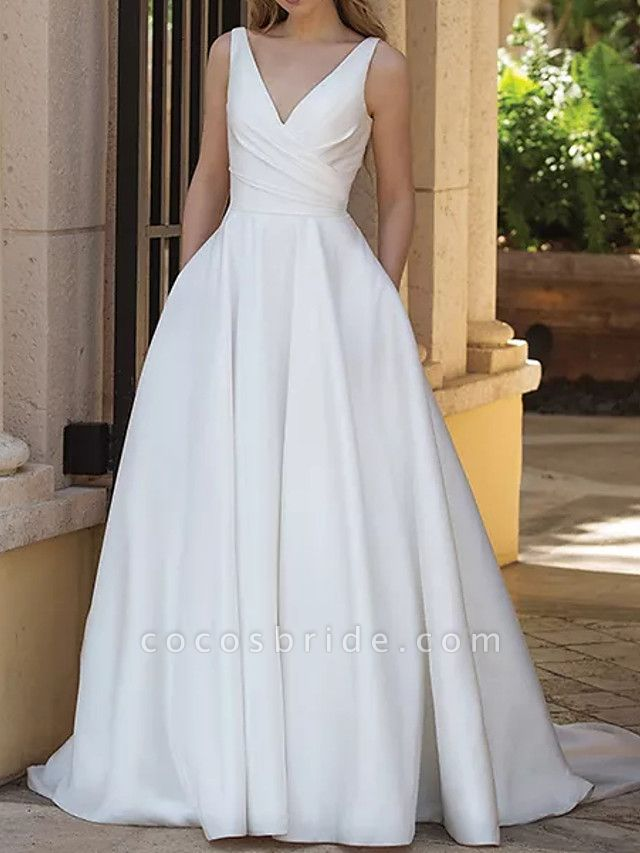 A-Line Wedding Dresses V Neck Sweep \ Brush Train Satin Sleeveless Country Plus Size