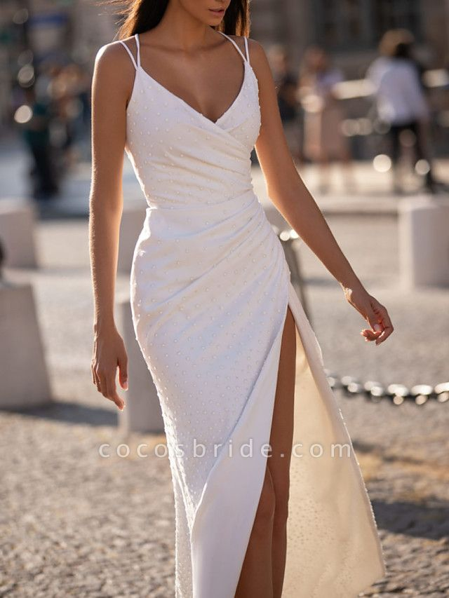 Sheath \ Column Wedding Dresses V Neck Floor Length Polyester Sleeveless Beach Plus Size