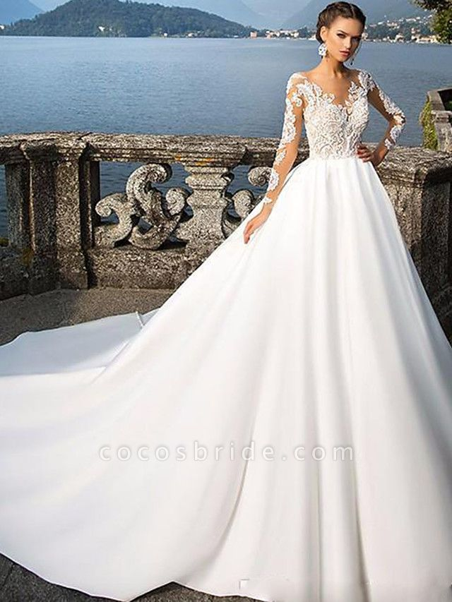 A-Line Wedding Dresses Jewel Neck Court Train Satin Long Sleeve Sexy Wedding Dress in Color