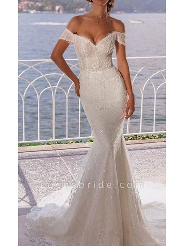 Mermaid \ Trumpet Wedding Dresses Off Shoulder Court Train Lace Short Sleeve