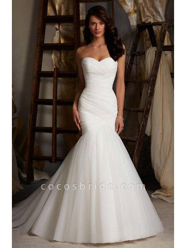 Mermaid \ Trumpet Sweetheart Neckline Court Train Tulle Strapless Simple Sexy Little White Dress Wedding Dresses