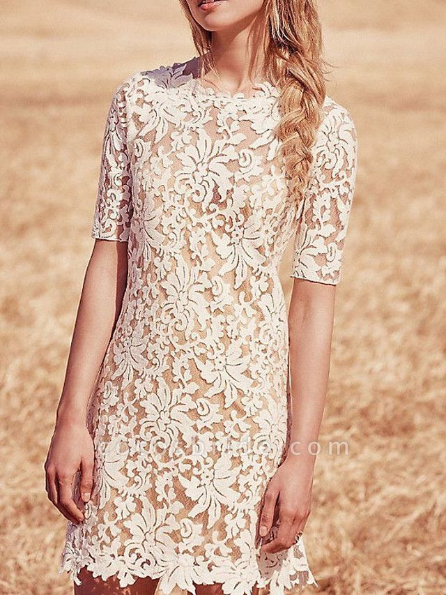Sheath \ Column Wedding Dresses Jewel Neck Short \ Mini Lace Half Sleeve Country