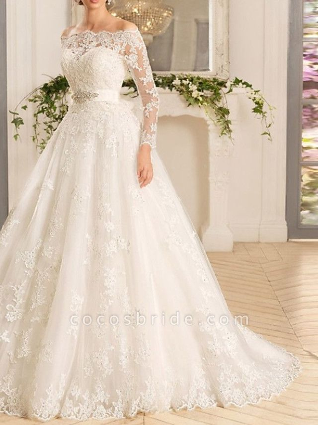 A-Line Wedding Dresses Off Shoulder Court Train Tulle Long Sleeve Romantic See-Through Backless Illusion Sleeve