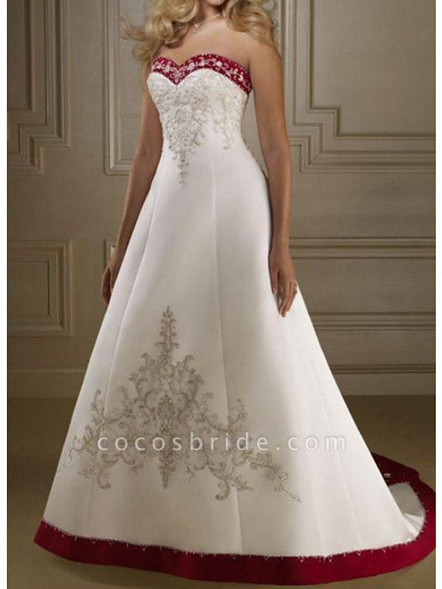 A-Line Wedding Dresses Sweetheart Neckline Sweep \ Brush Train Polyester Strapless Country Plus Size