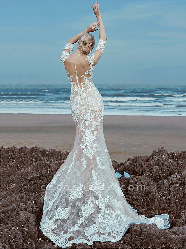 Mermaid \ Trumpet Wedding Dresses Scoop Neck Sweep \ Brush Train Lace Tulle Half Sleeve Beautiful Back