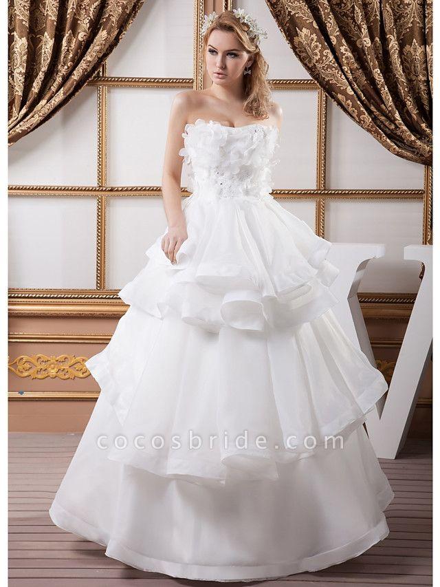 Ball Gown Strapless Floor Length Organza Satin Strapless Plus Size Wedding Dresses