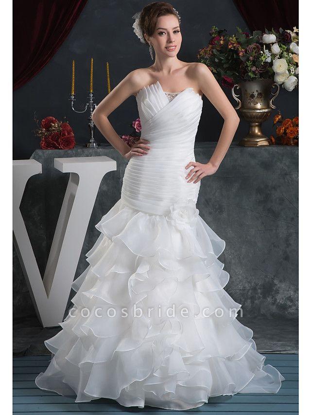 Mermaid \ Trumpet Strapless Court Train Organza Satin Strapless Plus Size Wedding Dresses