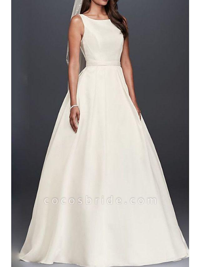 A-Line Wedding Dresses Jewel Neck Court Train Taffeta Regular Straps