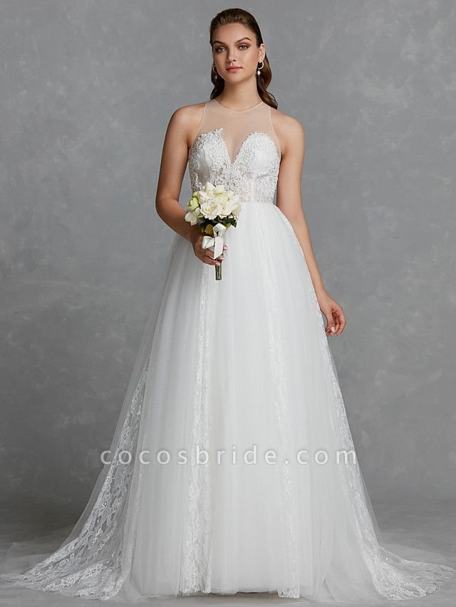 A-Line Wedding Dresses Jewel Neck Court Train Lace Tulle Regular Straps Glamorous See-Through Backless