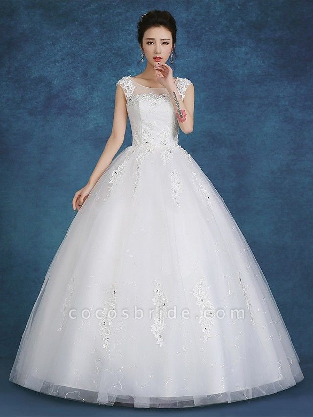 Ball Gown Wedding Dresses Scoop Neck Floor Length Satin Tulle Cap Sleeve Romantic See-Through Backless