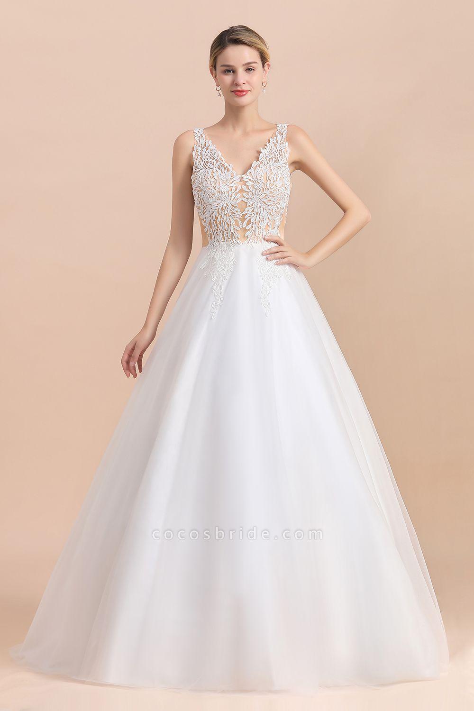 A-line Straps Tulle Appliques V-Neck Lace Boho Wedding Dress