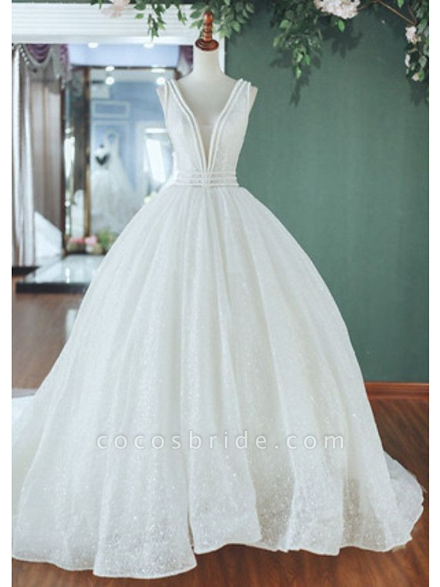 A-Line Wedding Dresses V Neck Court Train Tulle Sequined Regular Straps
