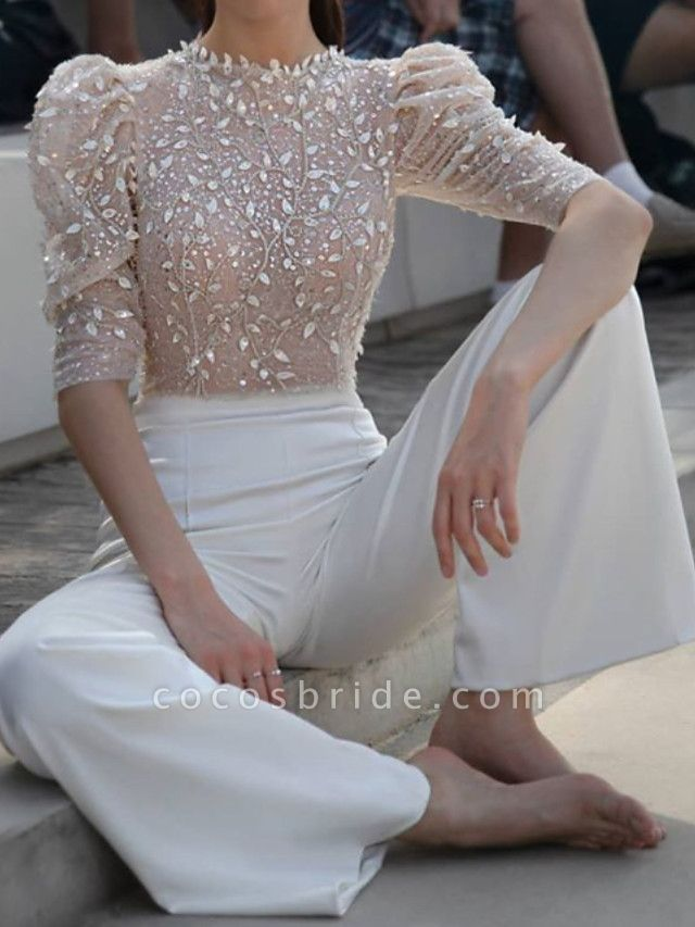 Two Piece Jumpsuits Wedding Dresses Jewel Neck Floor Length Lace Satin Half Sleeve Casual See-Through