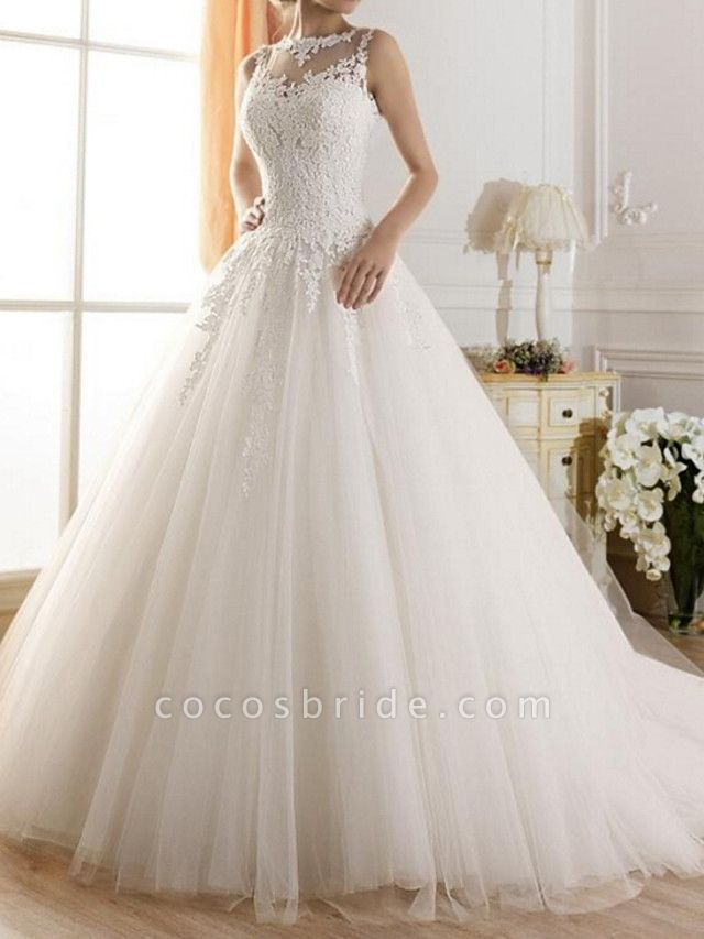A-Line Wedding Dresses Jewel Neck Sweep \ Brush Train Tulle Regular Straps Glamorous See-Through Illusion Detail Backless