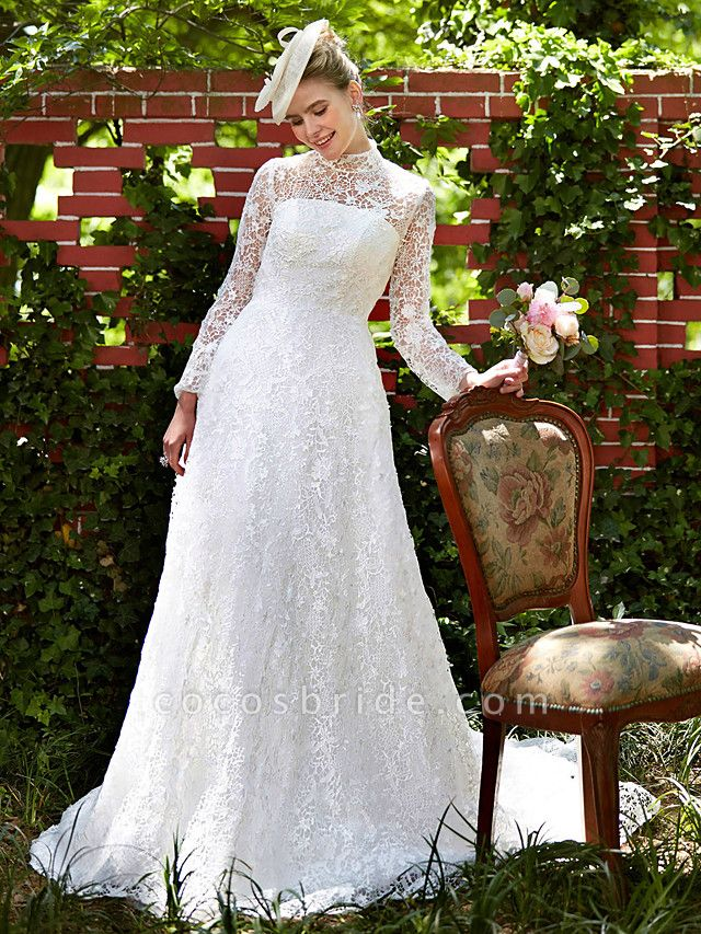 A-Line Wedding Dresses Illusion Neck Court Train All Over Lace Long Sleeve Floral Lace