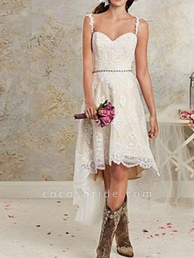 A-Line Wedding Dresses Spaghetti Strap Asymmetrical Lace Tulle Sleeveless Country Plus Size