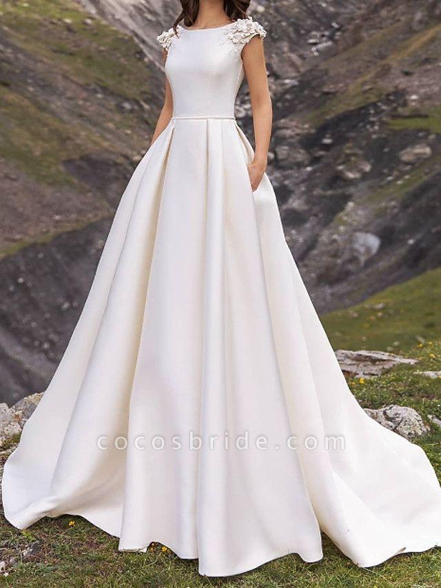 A-Line Wedding Dresses Jewel Neck Sweep \ Brush Train Satin Cap Sleeve Country Plus Size