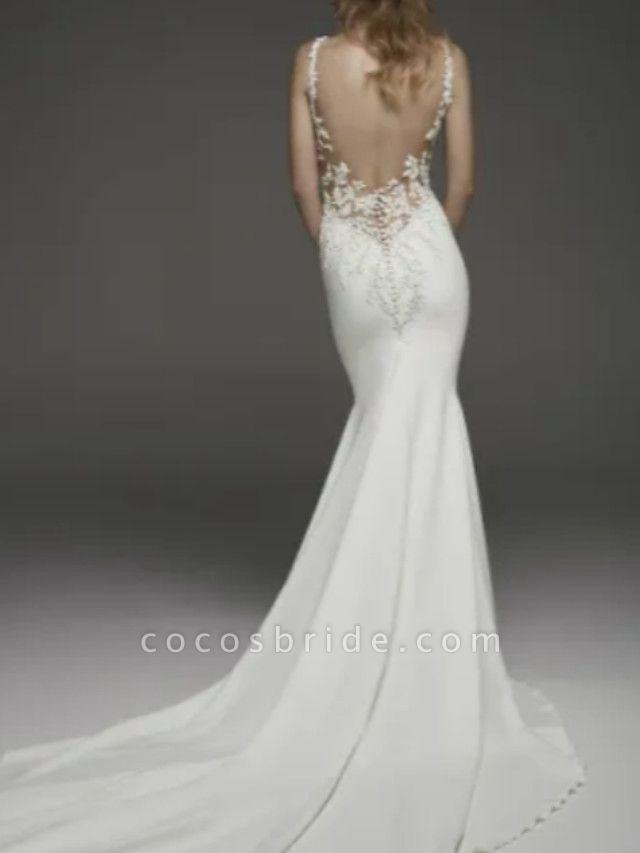 Mermaid \ Trumpet Wedding Dresses Jewel Neck Court Train Lace Charmeuse Regular Straps Formal Plus Size