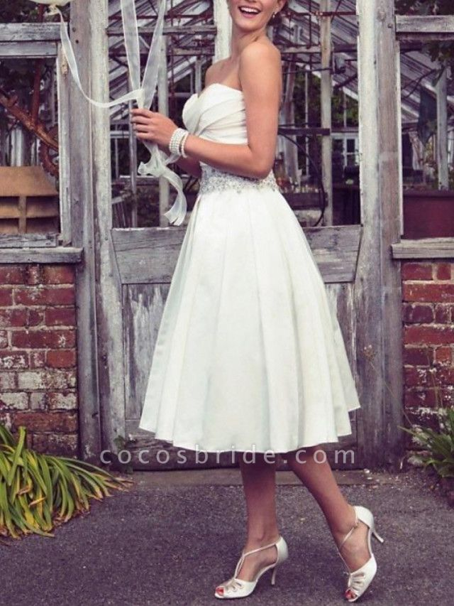 A-Line Wedding Dresses Strapless Tea Length Taffeta Half Sleeve Sleeveless Vintage Sexy Wedding Dress in Color