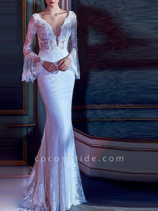 Mermaid \ Trumpet Wedding Dresses V Neck Court Train Lace Tulle Long Sleeve Illusion Sleeve