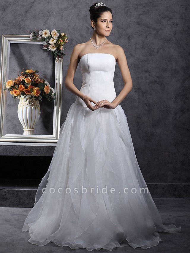 Princess A-Line Wedding Dresses Strapless Organza Satin Sleeveless