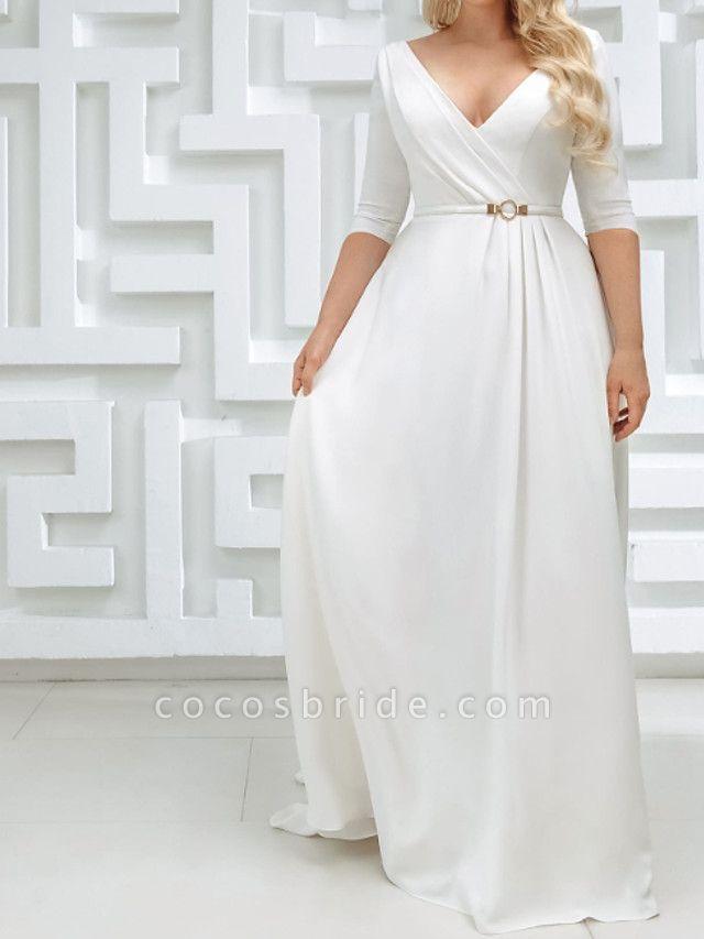 A-Line Wedding Dresses V Neck Sweep \ Brush Train Stretch Satin Half Sleeve Country Plus Size