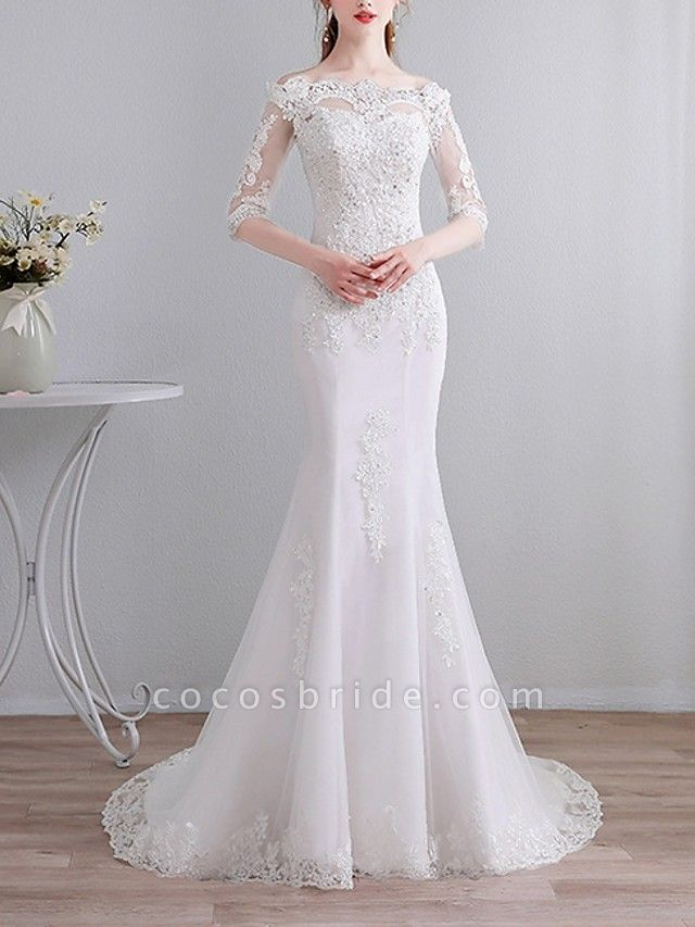 Mermaid \ Trumpet Wedding Dresses Off Shoulder Sweep \ Brush Train Lace 3\4 Length Sleeve Casual