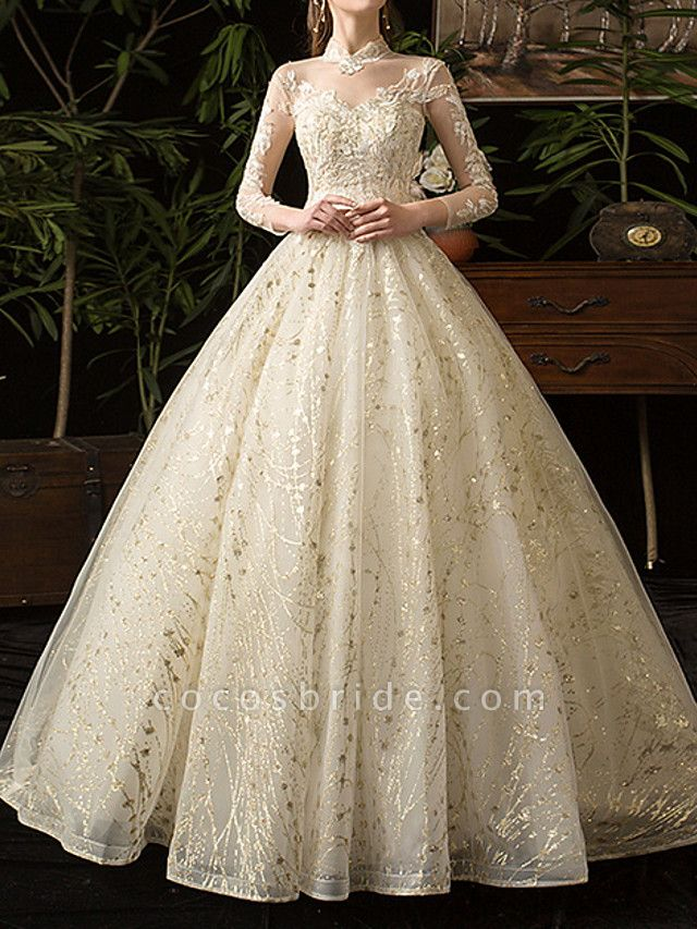 A-Line Wedding Dresses Jewel Neck Floor Length Lace Tulle Long Sleeve Formal Plus Size Illusion Sleeve