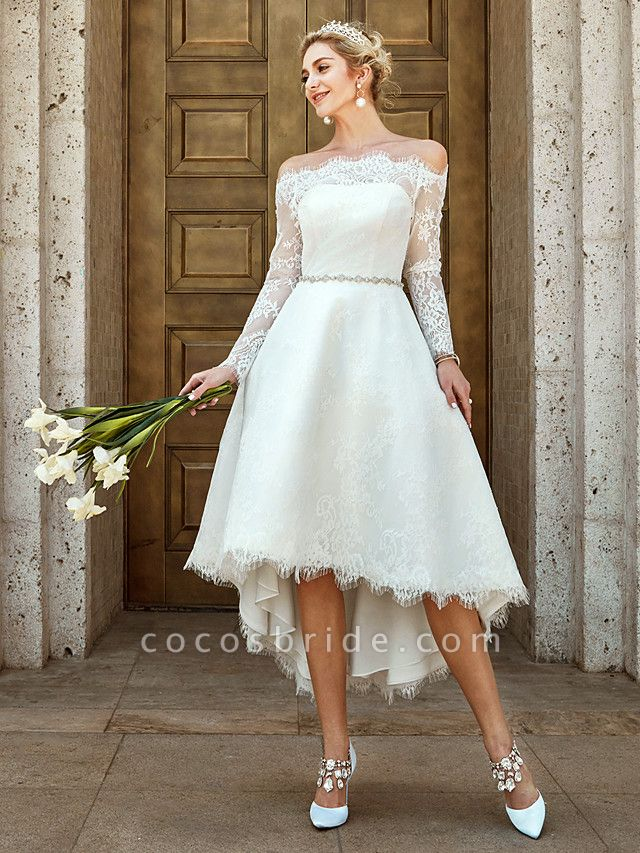 A-Line Wedding Dresses Off Shoulder Asymmetrical Lace Long Sleeve Casual Plus Size Illusion Sleeve