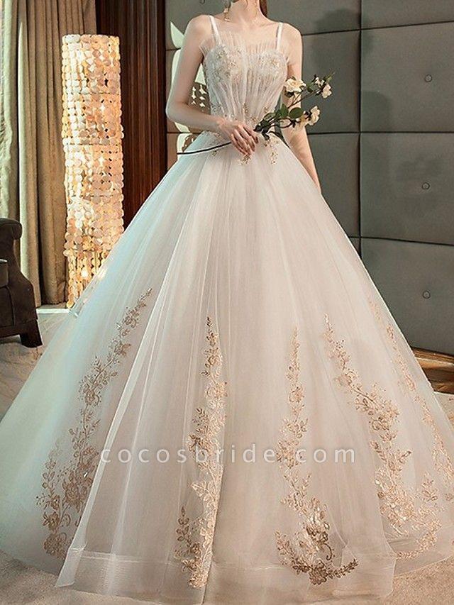 A-Line Wedding Dresses Strapless Floor Length Lace Sleeveless Beach